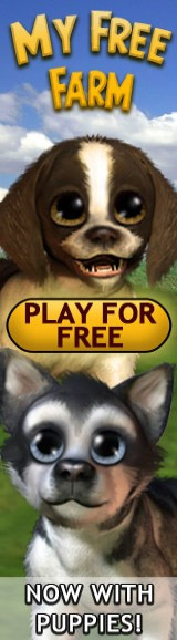Banner ad advertising a game with puppies with eyes the size of grapefruits. Now with puppies! exclaims the tagline