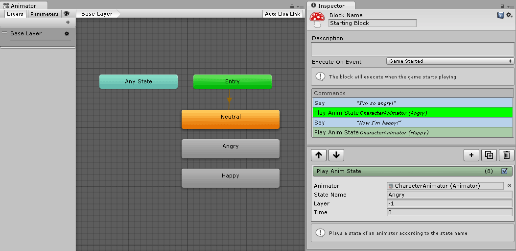 Display of Unity Animator and Fungus command