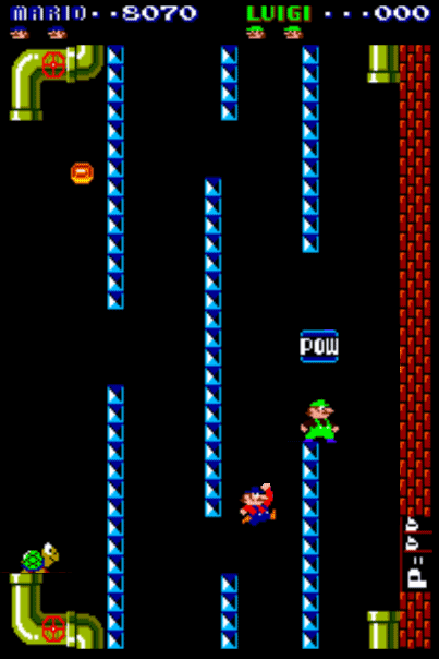 Mario Brothers rotated on its side