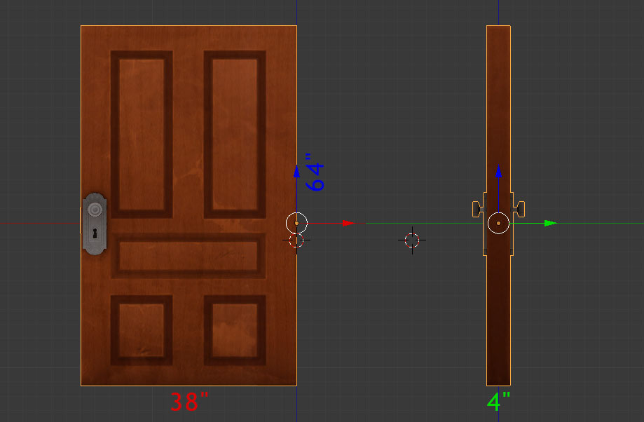 Computer model of a door from Gone Home. Dimensions are 206 by 123 by 13 centimetres